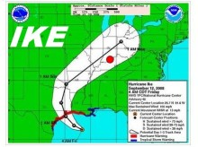 Hurricane Ike Path