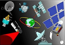 satellite array in space